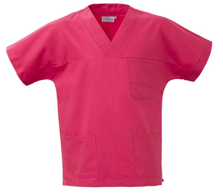 Casacca Fuxia A V Uomo Donna in Cotone A Camice per Medico Infermiera MS1401