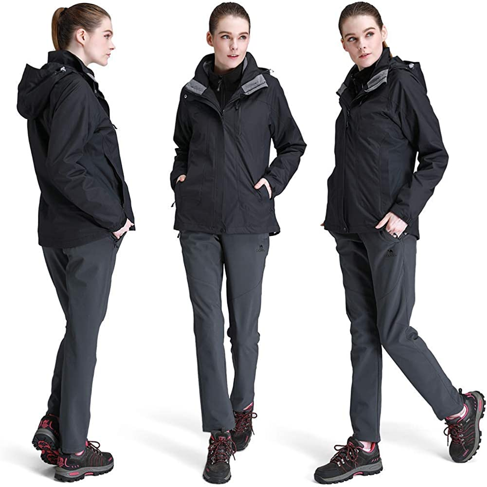 CAMEL CROWN Womens Winter Jacket 3-in-1 Winter Coats Ski Jacket Waterproof with Warm Fleece Inner and Windproof Hooded Black