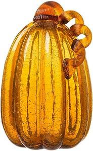 "Glitzhome Crackle Glass Pumpkin for Fall Harvest Decoration, 9.06"" H, Amber"