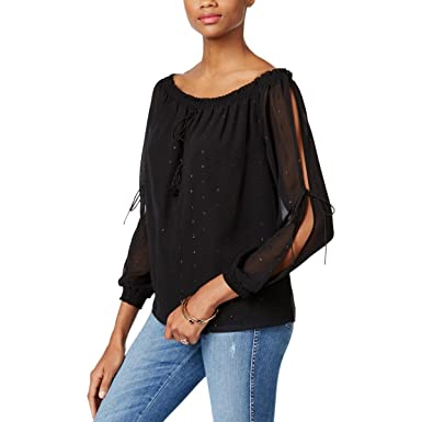 1c515e611ea658 GUESS Womens Toya Smocked Off The Shoulder Peasant Top Black S at ...