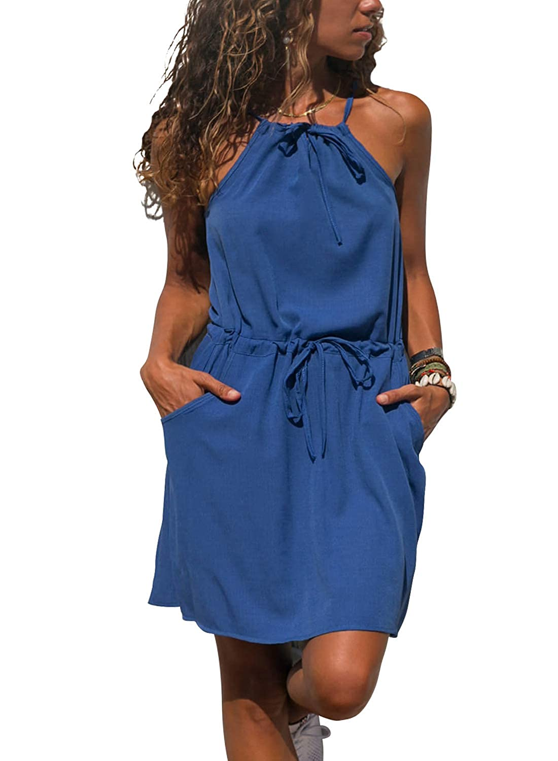 Azokoe Women Summer Casual Loose Short Romper Sleeveless High Waisted Jumpsuit with Pockets