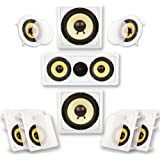 Acoustic Audio by Goldwood HD726 Flush Mount in-Wall/Ceiling Home Theater 7.2 Surround Sound 6.5 Inch Speakers (9 Speakers, 7
