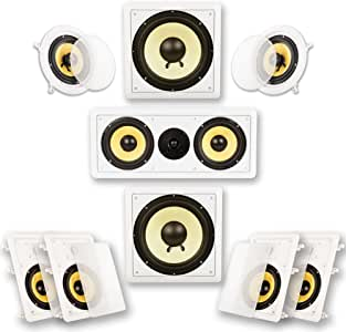 Acoustic Audio by Goldwood HD726 Flush Mount in-Wall/Ceiling Home Theater 7.2 Surround Sound 6.5 Inch Speakers (9 Speakers, 7.2 Channels, White)