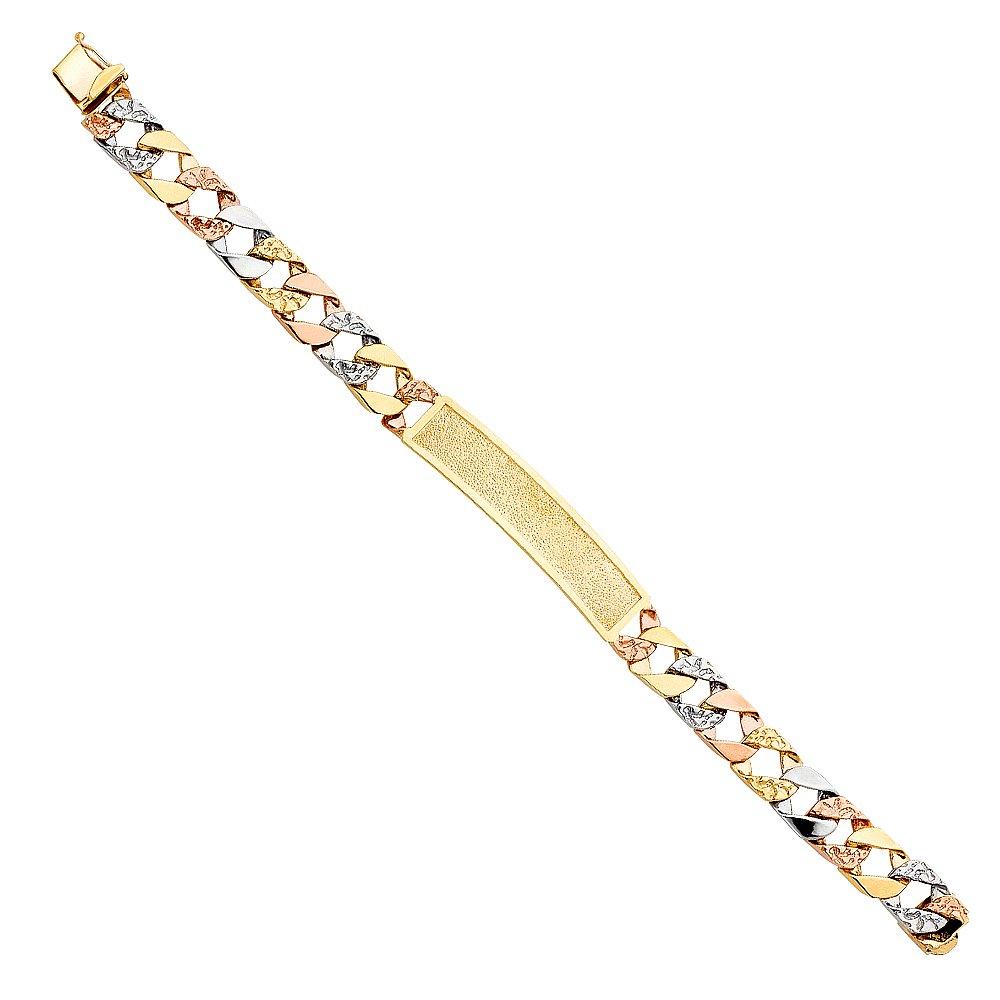 Wellingsale 14k Tri 3 Color Gold Solid Polished Mens Nugget Cuban ID Bracelet 8.5