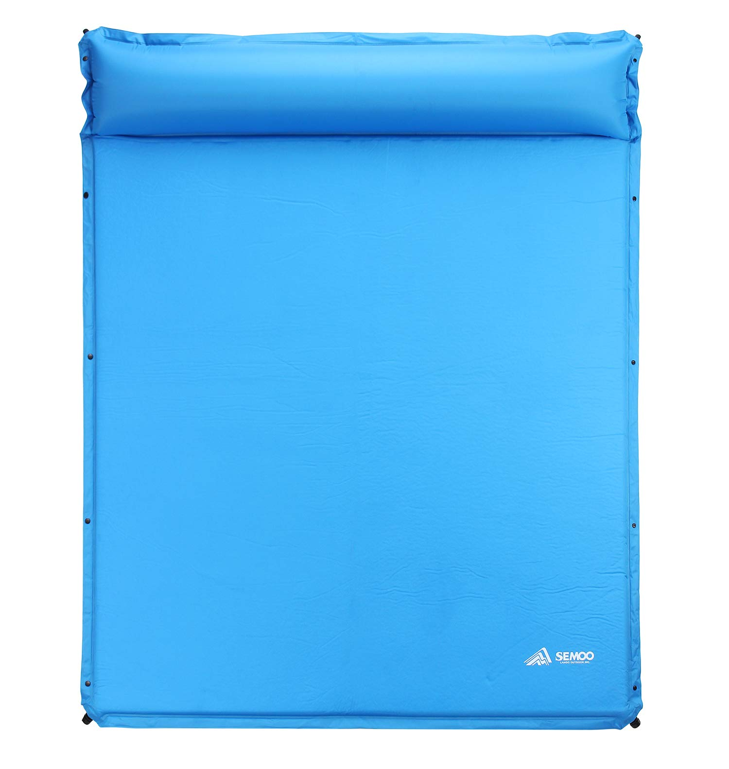 SEMOO Self-Inflating Camping Sleeping Pads Lightweight Comfort 1.2 Inch Thick Water Repellent Coating Mats Great for Indoor Outdoor Backpacking Hiking (Blue with Pillow 3 Person) by SEMOO