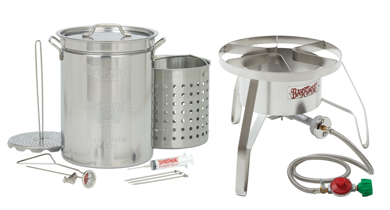 Bayou Classic 1195SS Stainless Steel 32 Quart Turkey Fryer Kit with Stainless Steel Burner