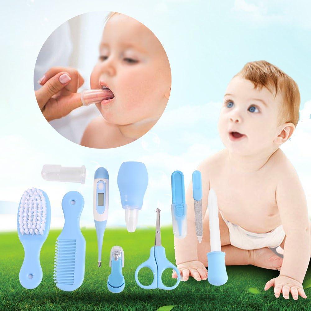 Fdit 10pcs Socialme-EU Juego de Cuidado de Beb/é Cuidado Infantil de Beb/és Aspirador de Beb/és Cuidado de U/ñas Bucal y Nariz para Beb/és Socialme-EU Azul