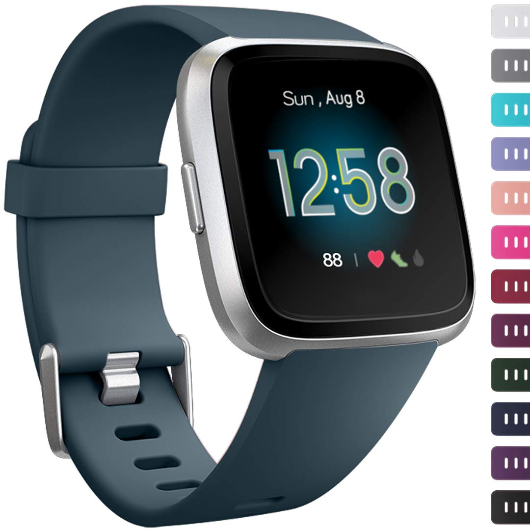 Ouwegaga Compatible for Fitbit Versa 2 Bands Versa Lite Straps Slate Blue Large by Ouwegaga
