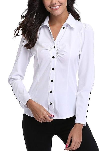e5ecd5cfd MISS MOLY Camisas y Blusas para Mujeres Oficina señoras Ladies V Cuello  Casual Tops Casuales Mangas largas abotonadas Fruncen el Frente Formal ...