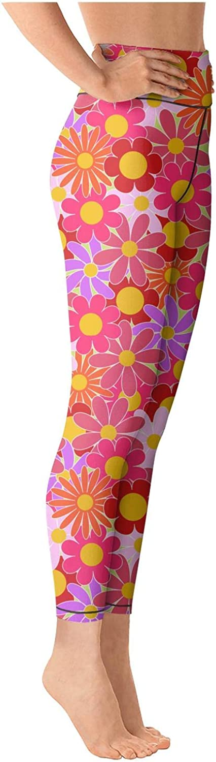 LUWI Womens Pink Daisy Seeds Printed Yoga Capris Leggings Workout Gym Pant