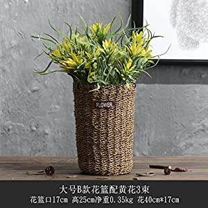 SituMi Artificial Flowers The Rattan Vase Home Decoration,Goldenrod 118
