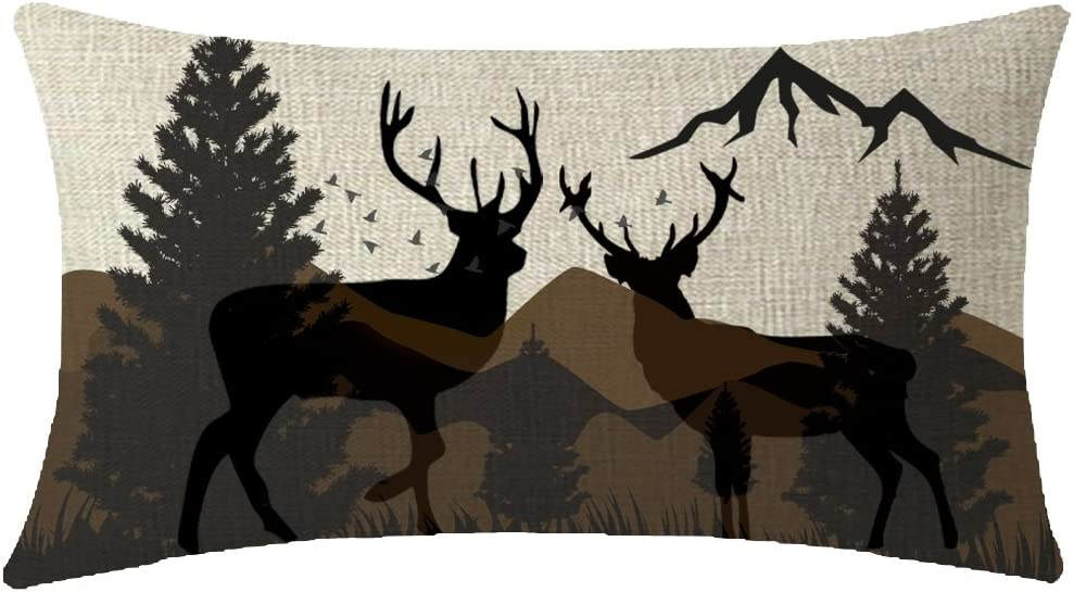 ITFRO Nice Gift Home Sofa Decorative Vintage Retro Wildlife Animal Deer Elk Family Pine Trees Mountains Lumbar Waist Cotton Linen Throw Pillow Case Cushion Cover Oblong 12x20 Inches