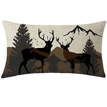ITFRO Nice Gift Home Sofa Decorative Vintage Retro Wildlife Animal Deer Elk Family Pine Trees Mountains Lumbar Waist Cotton Linen Throw Pillow Case ...