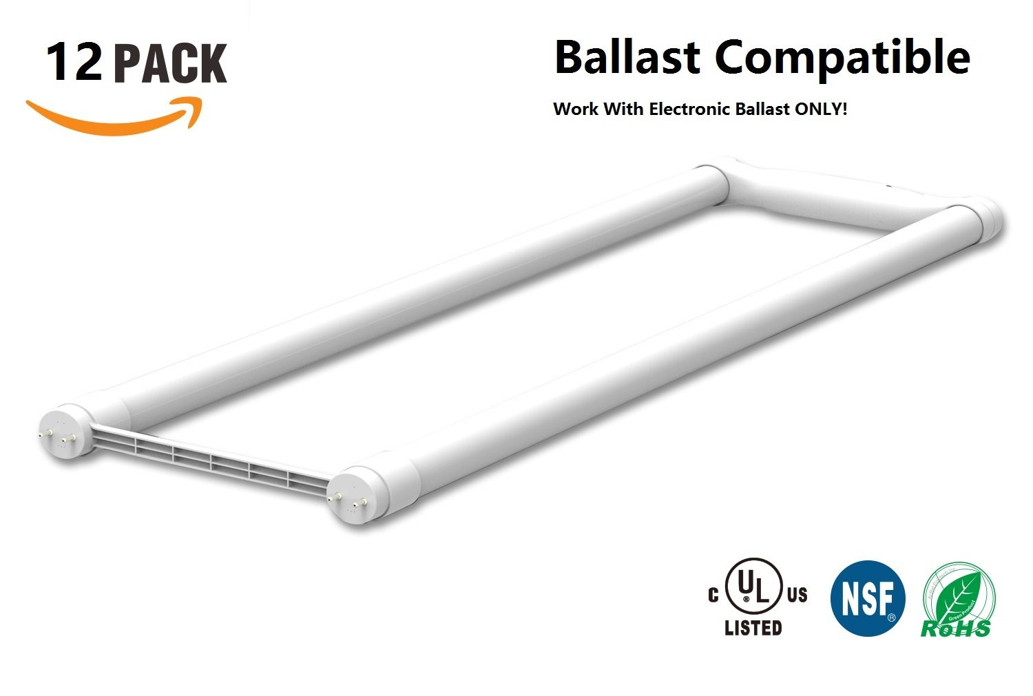 12-Pack Ballast Compatible U Bent LED Tube, 12W 1800lm(32W or Higher Equivalent), 5000K(Dayligt), Work With Electronic Ballast, Frosted, Glass, UL-Listed(12, 12W 5000K)