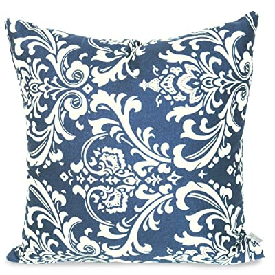 Majestic Home Goods Pillow, X-Large, French Quarter, Navy Blue - Dimensions - 24 in. x 10 in. x 24 in. (approx.) Perfect convenient size for all indoor and outdoor environments U.V. Treated Covers - these throw pillows uses an outdoor treated polyester and cotton cover that offers up to 1000 hours of protection Ultra Comfortable - the pillows are filled with our Super High Loft PolyFiber Fill to give them an ultra-soft cushion feel - patio, outdoor-throw-pillows, outdoor-decor - 610eNlV efL. SS400  -