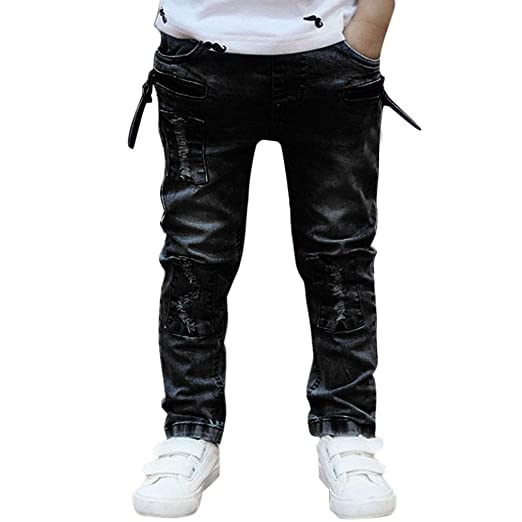 b849557c37e5 Kintaz Boy Jeans, Spring Summer Boy's Skinny Fit Zipper Stretch Ripped  Destroyed Distressed Stretch Patched