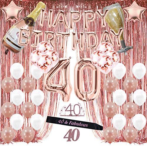 Decorations For 40th Birthday (Rose Gold 40th Birthday Decorations for Women, 40 Birthday Party Supplies Include Foil Fringe Curtains, Happy Birthday Balloons,Birthday Tiara & sash, Cake)
