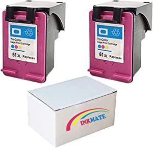 INKMATE Re-Manufactured Ink Cartridge Replacement for HP 61XL CH563WN for HP Deskjet 1010 1050 1510 2050 2512 3000 3050 Envy 4500(2Tri-Color, 2Pack)