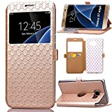 S7 Edge Case, Galaxy S7 Edge Case, ArtMine Quilted Plain Color Window View Function PU Leather Flip Folio Book Style Card Slots Kickstand Wallet Phone Case for Samsung Galaxy S7 Edge Golden