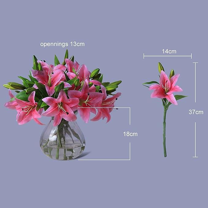 Justoyou - Ramo de flores artificiales de lirios, de tacto natural, de poliuretano, 4 unidades, ramos para boda, día de la madre, cumpleaños, decoración del ...