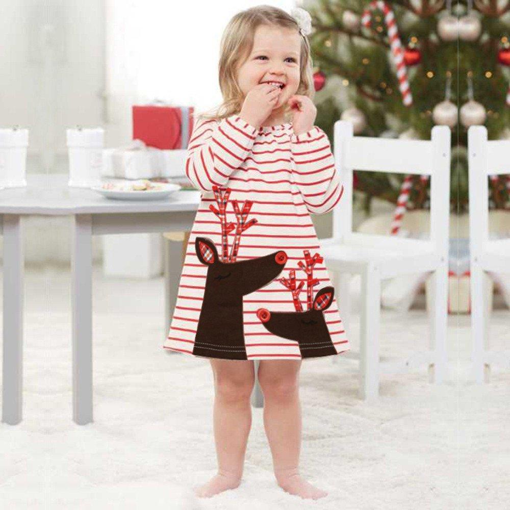 ❤ Modaworld Vestidos Bebé Niña, Niños bebés niñas Ciervos Rayas Princesa Vestido Navidad Trajes Ropa Vestido de Princesa de Fiesta 6 Mes - 6 años: ...