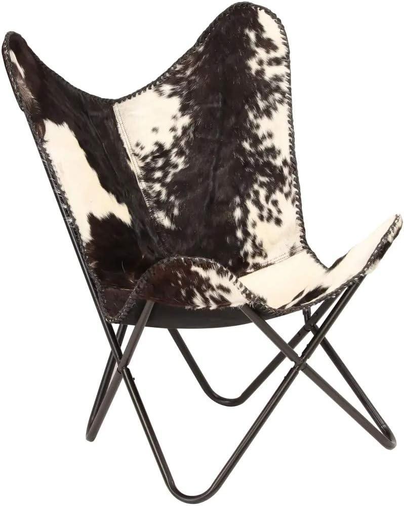 Ausla Silla de Mariposa de Cuero de Cabra Negra y Blanca 74 x 66 x 90 cm Lujoso