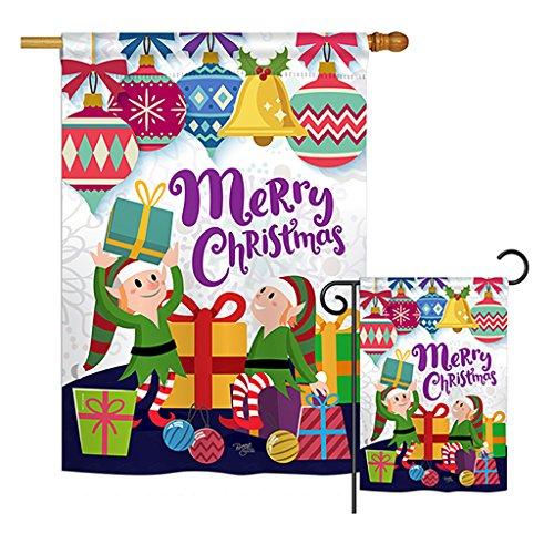 Deluxe Santas Helper - Breeze Decor FK114147-BO Santa Helper Merry Christams Winter Christmas Decorative Vertical Flags Kit, House & Garden Set w/Flagpole, Multi-Color