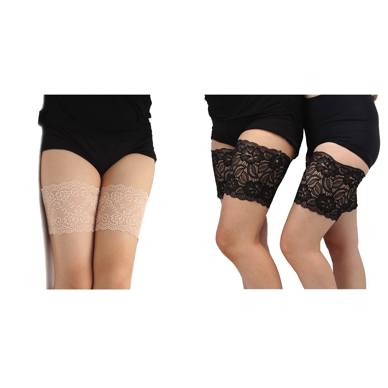 G4RCE® Women Girls Non Slip Lace Elastic Sock Anti-Chafing Thigh Bands Prevent Thigh Chafing Sock 4 Sizes UK Floral