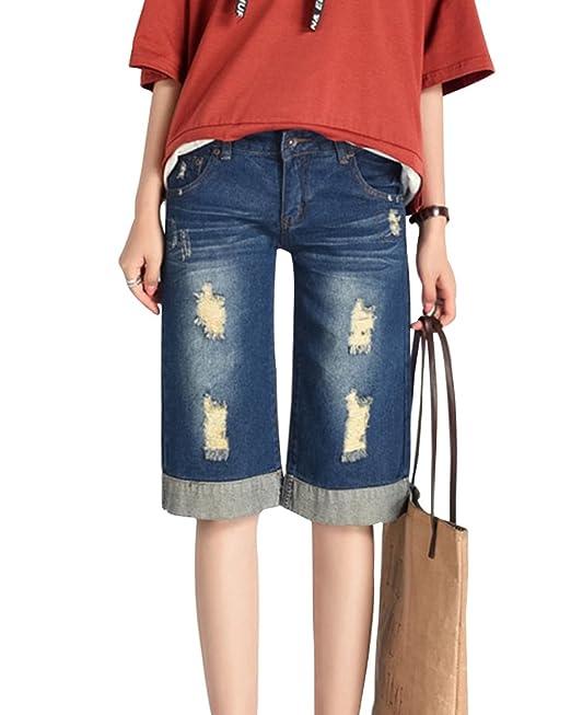 24f74bfc2 ShiFan Vaqueros Rotos Pantalones De Tiro Alto Mujer Anchos 1 2 Largo  Pantalón Tallas Grandes  Amazon.es  Ropa y accesorios
