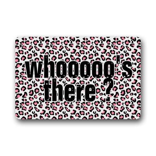 best bags Generic Machine Clean Top Fabric & Non-Slip Rubber Backing Durable Indoor/Outdoor Doormat Door Mats - Whooooo'S There ?Pink Leopard Print Animal Series Design (Leopard Print Animal Series)