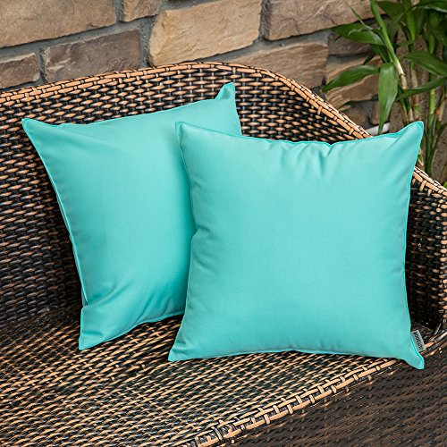 MIULEE Pack of 2 Decorative Outdoor Waterproof Pillow Cover Square Garden Cushion Case PU Coating Throw Pillow Cover Shell for Tent Park Couch 18x18 Inch Light Green (Pillows Waterproof Outdoor)