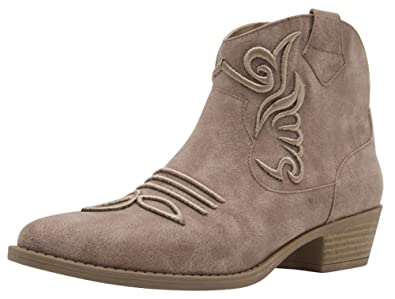 Women's Closed Almond Toe Pull Tab Embroidered Western Cowboy Chunky Stacked Low Heel Ankle Bootie
