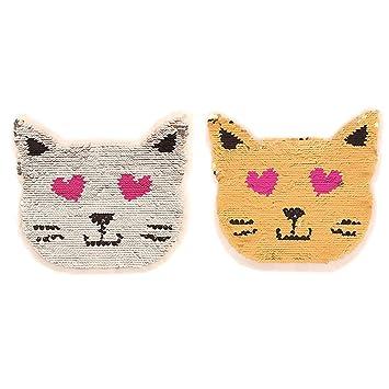 Parches de lentejuelas reversibles Jumbo con diseño de gatito para coser o bordar, para decoración de ropa, Smiling Kitten, 22 cm: Amazon.es: Hogar
