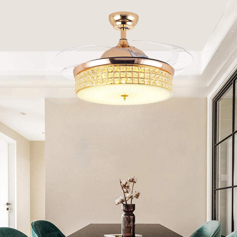 Kristall unsichtbare Lüfter Lampe führte Wohnzimmer Esszimmer Lampe Eisen Schlafzimmer kreative Decke Deckenventilator Lampe-D D