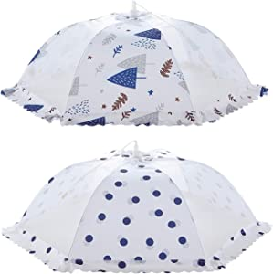 ORZ Plate Serving Covers 2 Pack Mesh Screen Food Cover Tents Pop-up Umbrella Food Nets for Outdoor Parties Picnic Kitchen