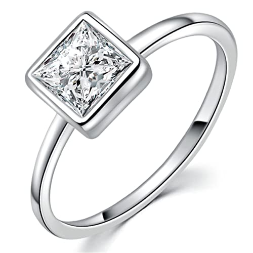 YAN   LEI Sterling Silver Square Princess Cut White CZ Stackable Ring Color  Silver ... adc79e2d01
