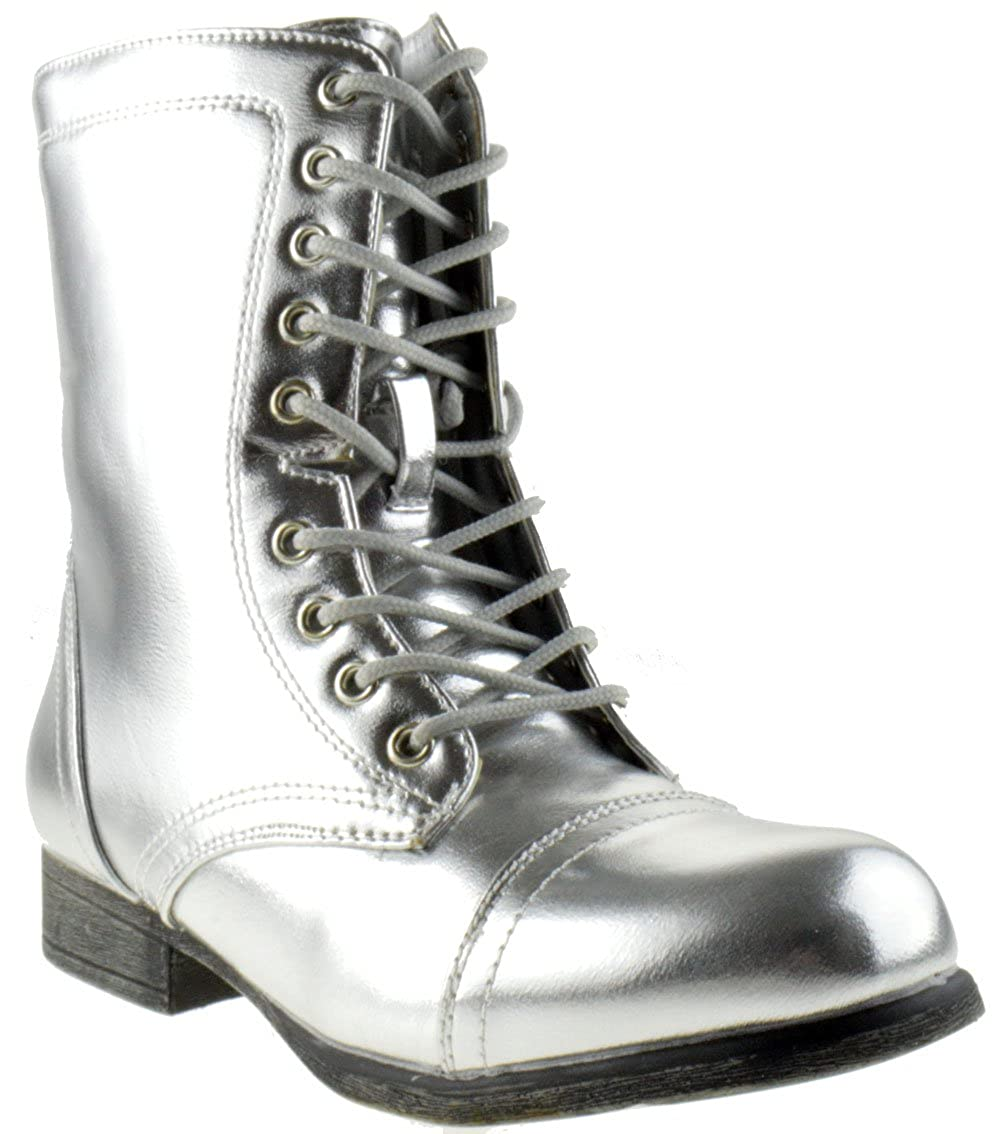 b585f40fcd675 Surprise 13 Womens Shine Metallic Lace Up Combat Boots