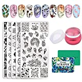 NICOLE DIARY 5pcs Stamp Template Set Cartoon Cute Fruit Animal Design Nail Art Rectangle Image Stamping Plate Kits with Clear Jelly Stamper & Scrapers