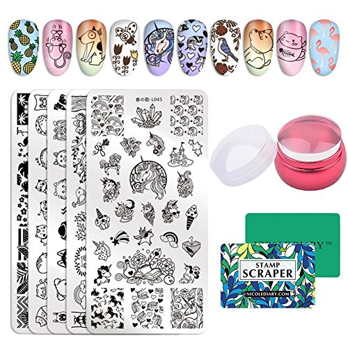 NICOLE DIARY 5pcs Stamp Template Set Cartoon Cute Fruit Animal Design Nail Art Rectangle Image Stamping Plate Kits with Clear Jelly Stamper & Scrapers by NICOLE DIARY