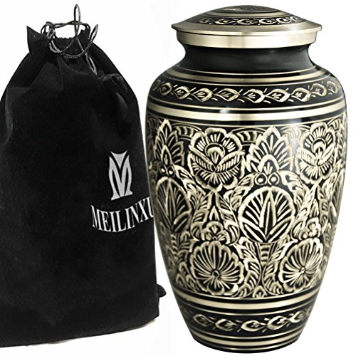 Majestic Urn - Funeral Urns Adult Ashes Large Memorial Urn - Cremation Urn for Human Ashes Adults or Dog Urns - Design is Hand Engraved in Brass - Burial Urns At Home or in Niche at Columbarium (Majestic Radiance