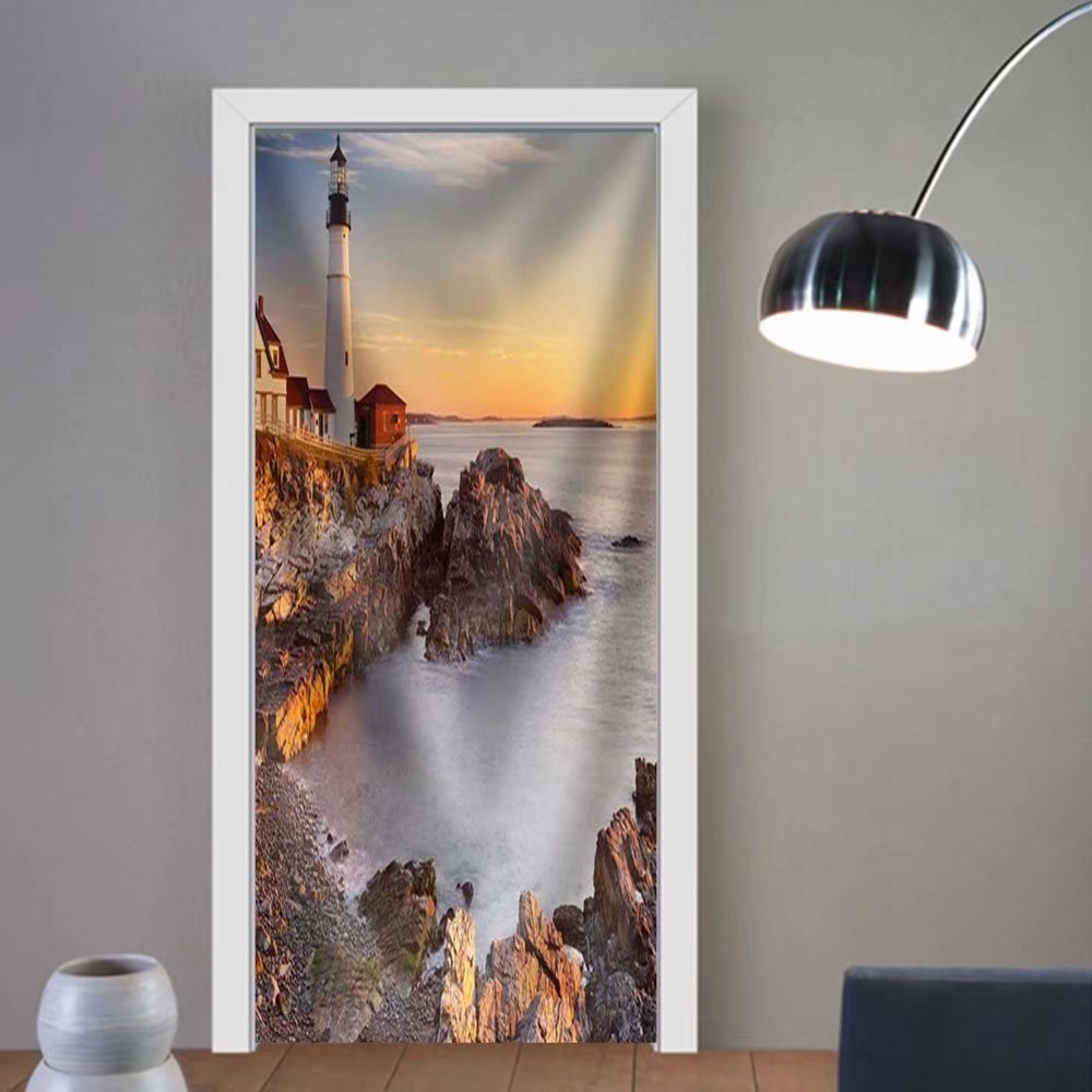 Niasjnfu Chen custom made 3d door stickers the Portland Head Lighthouse in Cape Elizabeth Maine Usa. Photographed at Sunrise Fabric Home Decor For Room Decor 30x79