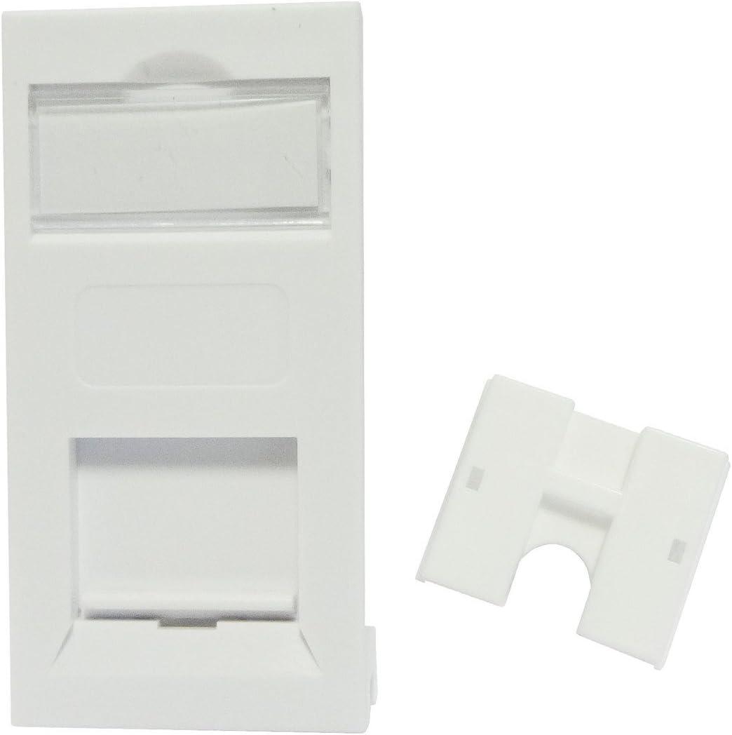 Pack of 100 Single Gang Square Face Plates for Cat5e RJ45 25 x 50 Euro Modules