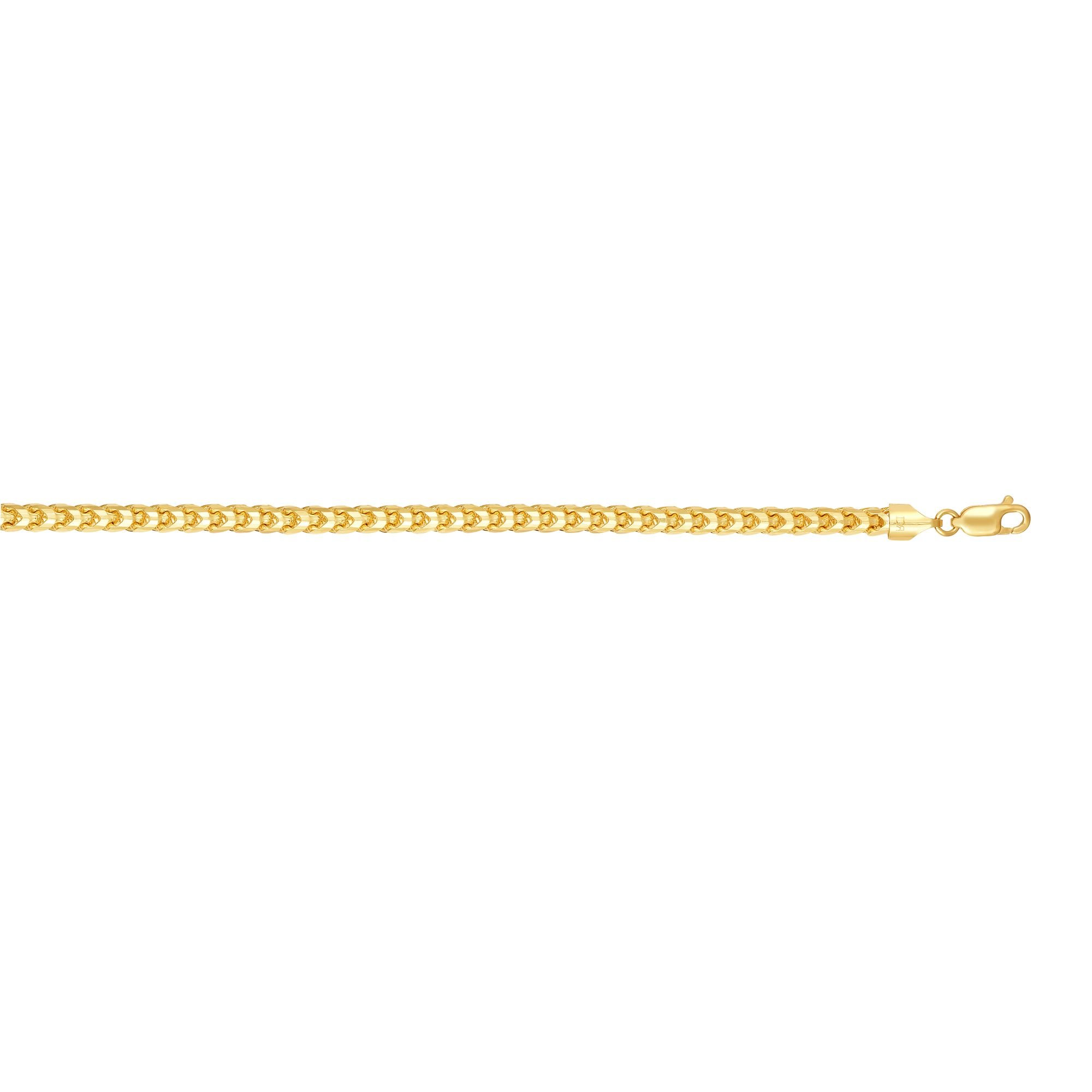 14K Yellow Gold Solid 5mm Round Franco Chain Diamond Cut 8.75'' Long Bracelet with Lobster Clasp