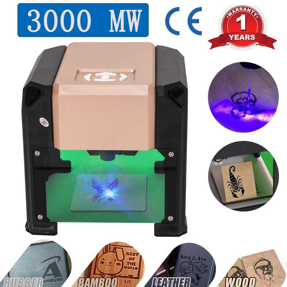 Laser Engraver, MYSWEETY 3000MW Mini DIY Laser Engraving Machine, Desktop Laser Engraver Printer, CNC Laser Carving Machine for Wood, Plastic, Bamboo, Rubber, Leather(Working Area: 8x8cm) by MYSWEETY