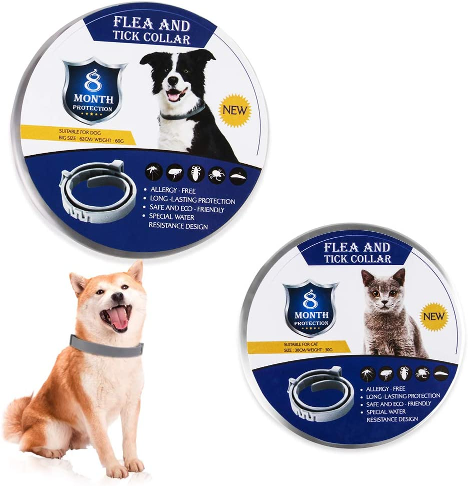 WULAU Flea Treatment for Dogs & Cats Adjustable Dog & Cat Collar Small Medium Large   8 Months Tick and Lice Repellent for Puppy & Kitten   Waterproof Pet Spot On Protection & Allergy Free