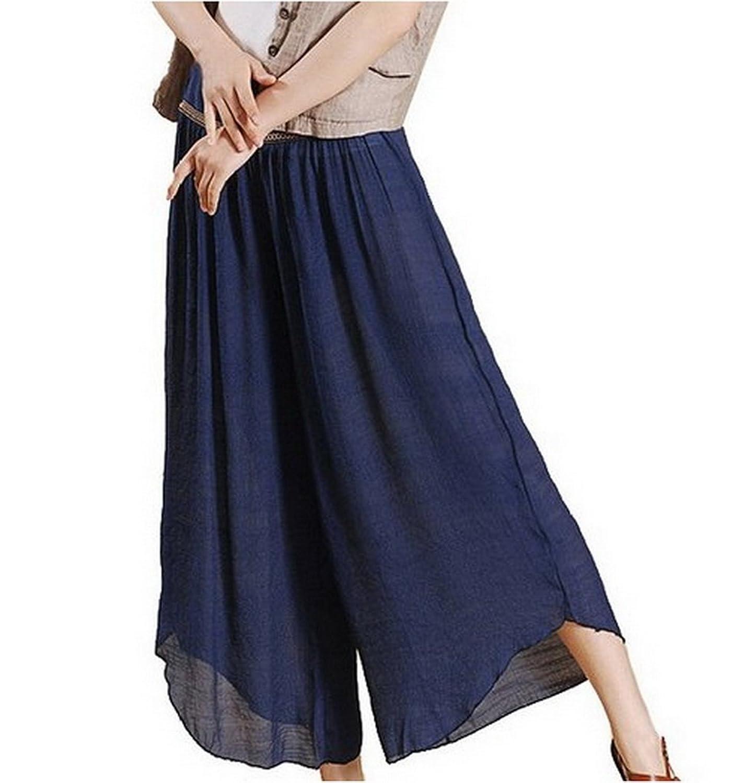 Women Light Soft Wide Leg Elastic Waist Slub cotton Pants Trousers Pantskirt Culottes