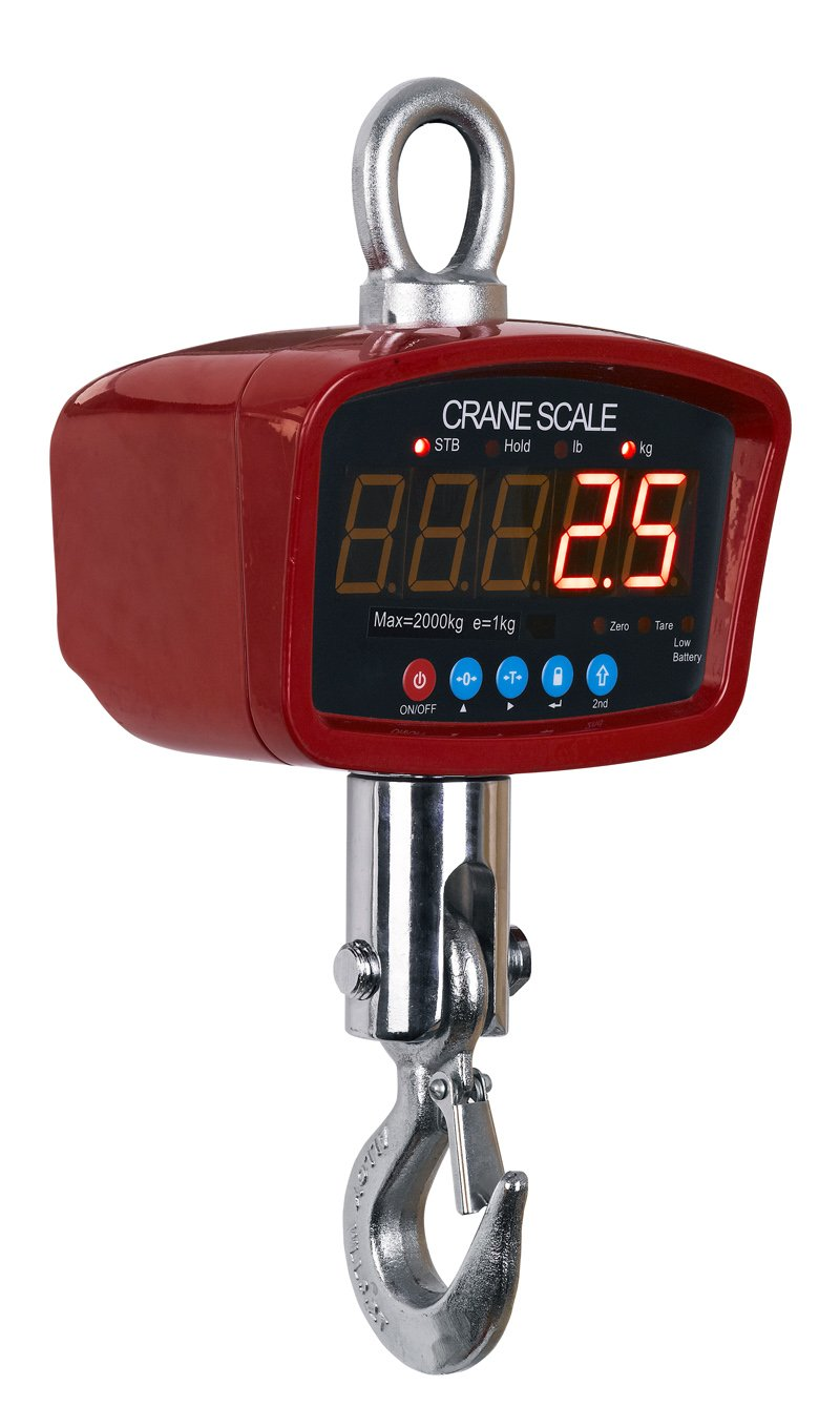 Optima Digtial Portable Industrial Hanging LED Crane Scale With Remote Control, 500 LBS x 0.2 LBS