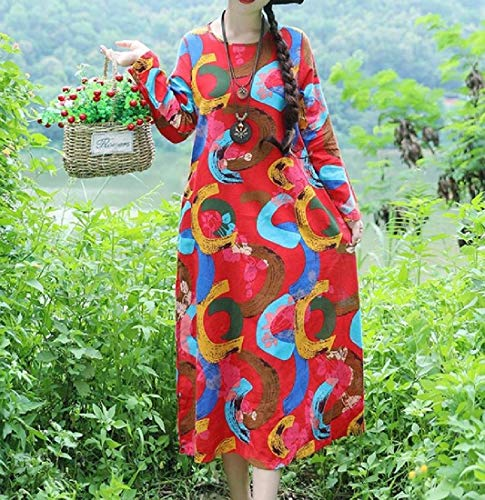 Floral Style Loose Elegant Folk Midi Howme Dress Womens Print Casual Red 5gRwnpxqa1