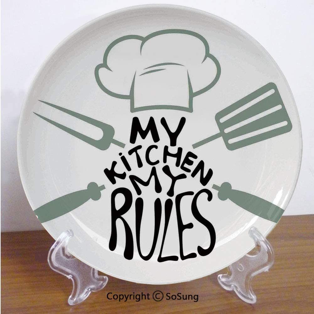 Amazon Com Kitchen Decor 7 Ceramic Decorative Plate Cooking Design My Rules Decoration Quotes Chefs Hat And Uniform Utensils Black White For Living Room Bedroom Hallway Console Side Table Home
