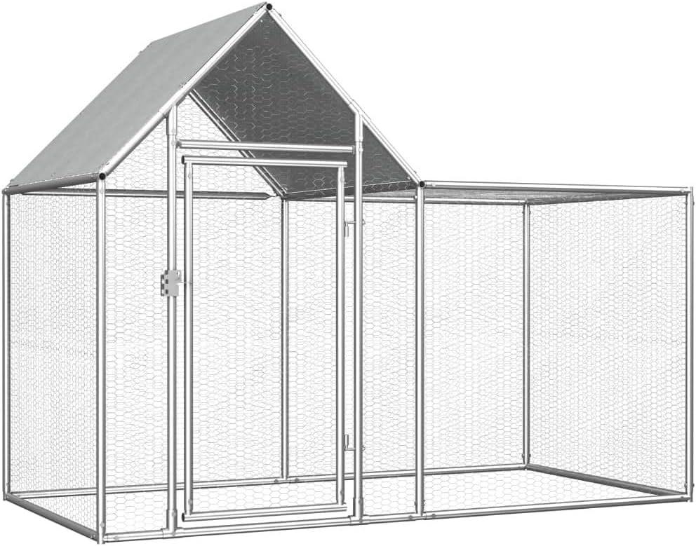 Festnight Jaula Gallinero de Exterior Gallinero de Acero Galvanizado con Techo Impermeable 2x1x1,5 m